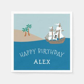 Pirate Ship Kids Birthday Party Paper Napkin