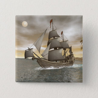 Pirate ship leaving - 3D render 2 Inch Square Button