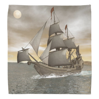 Pirate ship leaving - 3D render Bandana