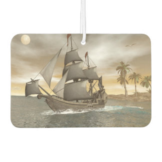Pirate ship leaving - 3D render Car Air Freshener