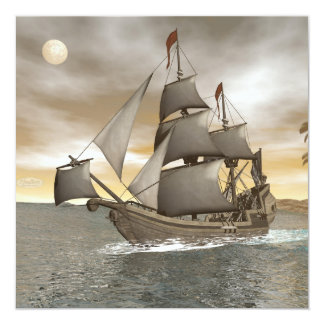 Pirate ship leaving - 3D render Card