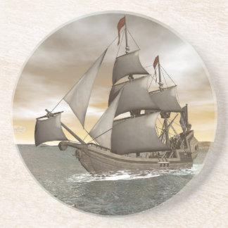 Pirate ship leaving - 3D render Coaster