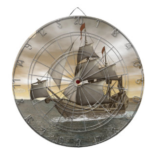 Pirate ship leaving - 3D render Dartboard