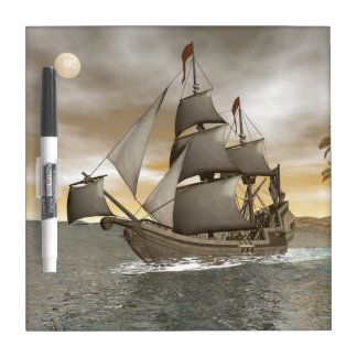 Pirate ship leaving - 3D render Dry Erase Board