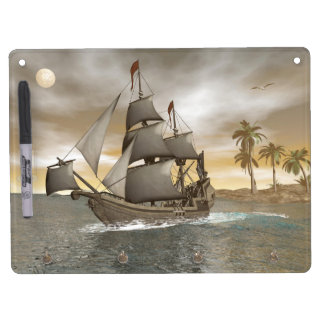 Pirate ship leaving - 3D render Dry Erase Board With Keychain Holder