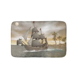 Pirate ship leaving - 3D render.j Bath Mat