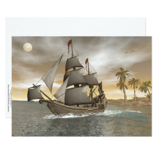 Pirate ship leaving - 3D render.j Card
