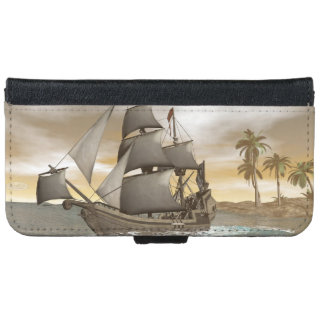 Pirate ship leaving - 3D render.j iPhone 6 Wallet Case
