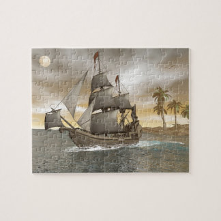 Pirate ship leaving - 3D render.j Jigsaw Puzzle