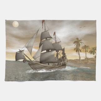 Pirate ship leaving - 3D render.j Kitchen Towel