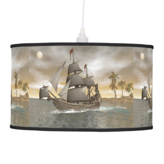 Pirate ship leaving - 3D render.j Pendant Lamp