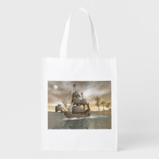 Pirate ship leaving - 3D render.j Reusable Grocery Bag