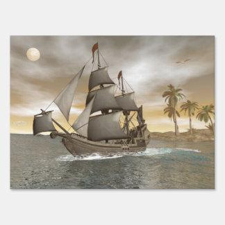 Pirate ship leaving - 3D render.j Sign