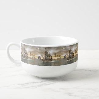 Pirate ship leaving - 3D render.j Soup Mug