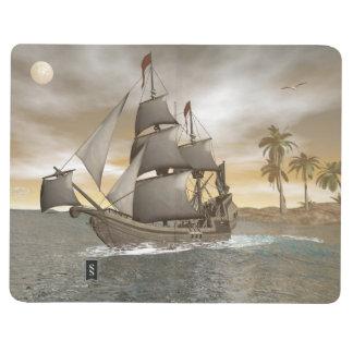 Pirate ship leaving - 3D render Journal