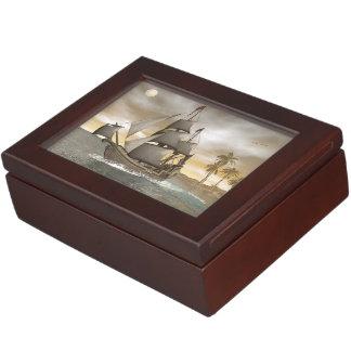 Pirate ship leaving - 3D render Keepsake Box