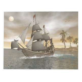 Pirate ship leaving - 3D render Notepad