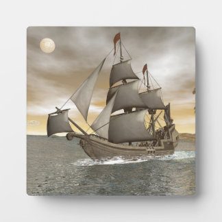 Pirate ship leaving - 3D render Plaque