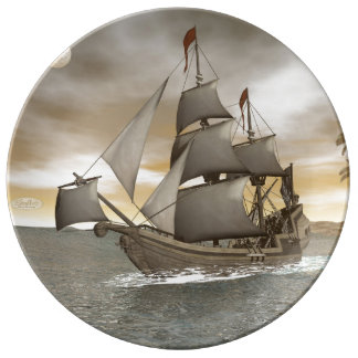 Pirate ship leaving - 3D render Plate