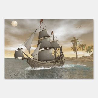 Pirate ship leaving - 3D render Sign