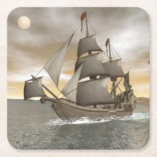 Pirate ship leaving - 3D render Square Paper Coaster
