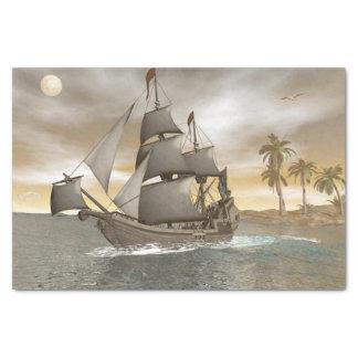 Pirate ship leaving - 3D render Tissue Paper