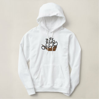 Pirate ship men's embroidered pullover hoodie