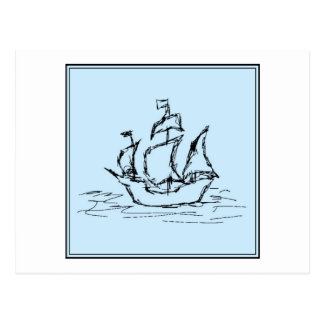 Pirate Ship. On pale blue. Postcards