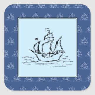 Pirate Ship on Ship Pattern, Blue. Square Sticker