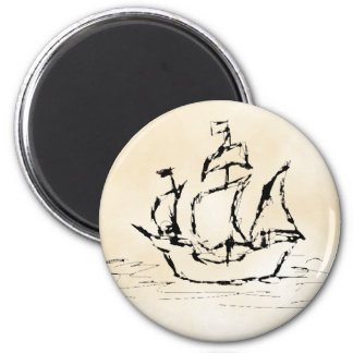 Pirate Ship. Parchment Pattern Background. 2 Inch Round Magnet