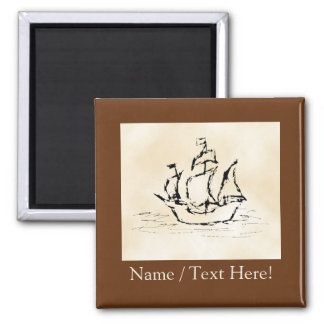 Pirate Ship. Parchment Pattern Background. Square Magnet