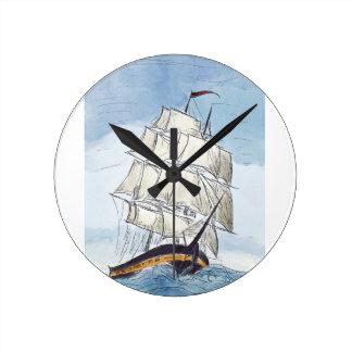 Pirate Ship Portrait Gift Round Clock