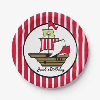 Pirate Ship Red Stripes Paper Plate