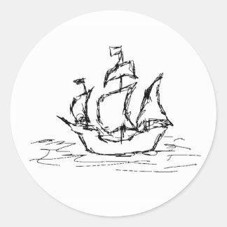 Pirate Ship. Round Sticker