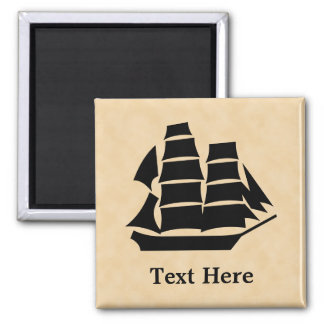 Pirate Ship. Sailing Ship. Square Magnet
