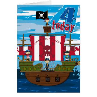 Pirate Ship Scene 4th Birthday Card