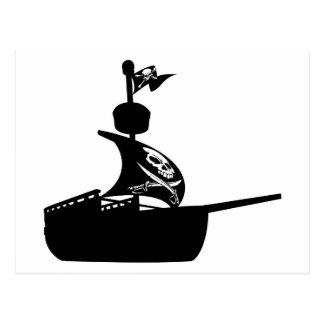 Pirate Ship Silhouette Postcard