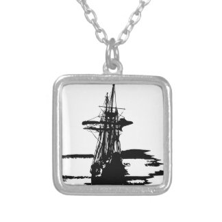 pirate ship silver plated necklace