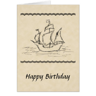 Pirate Ship Sketch Birthday Card. Nautical. Custom Card