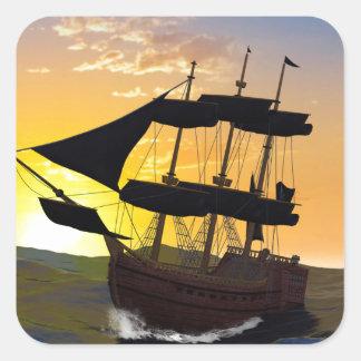 Pirate ship square sticker