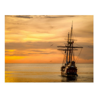 Pirate Ship Sunset Postcard