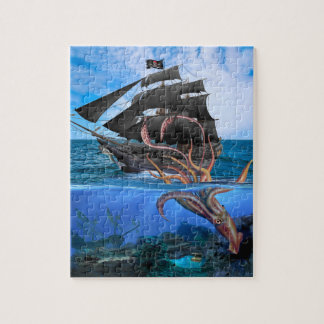 Pirate Ship vs The Giant Squid Jigsaw Puzzle