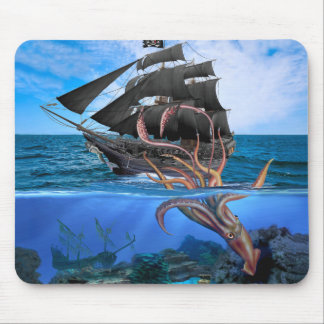 Pirate Ship vs The Giant Squid Mouse Pad