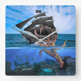 Pirate Ship vs The Giant Squid Square Wall Clock
