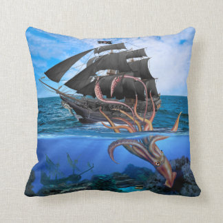 Pirate Ship vs The Giant Squid Throw Pillow