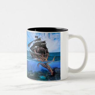 Pirate Ship vs The Giant Squid Two-Tone Coffee Mug