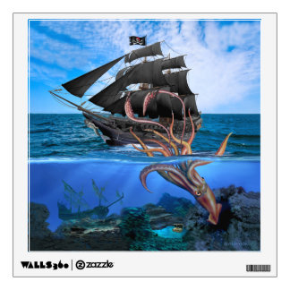 Pirate Ship vs The Giant Squid Wall Sticker