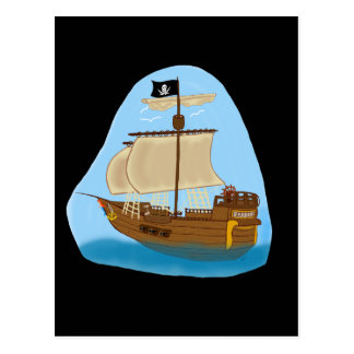 Pirate Ship with Flag Postcard