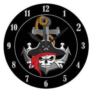 Pirate Skull Anchor Wallclock