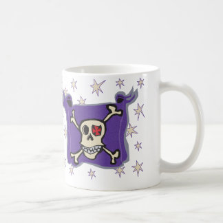 Pirate: Skull and Cross Bones Flag with Stars Coffee Mug
